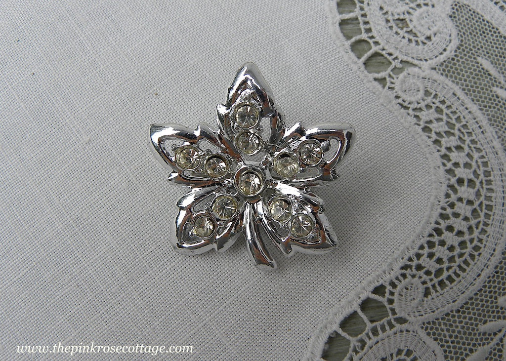 Vintage Maple Leaf Rhinestone Pin