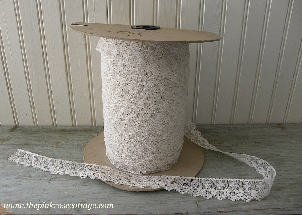 Large Spool of Vintage Cream Lace Trim Yardage - The Pink Rose Cottage