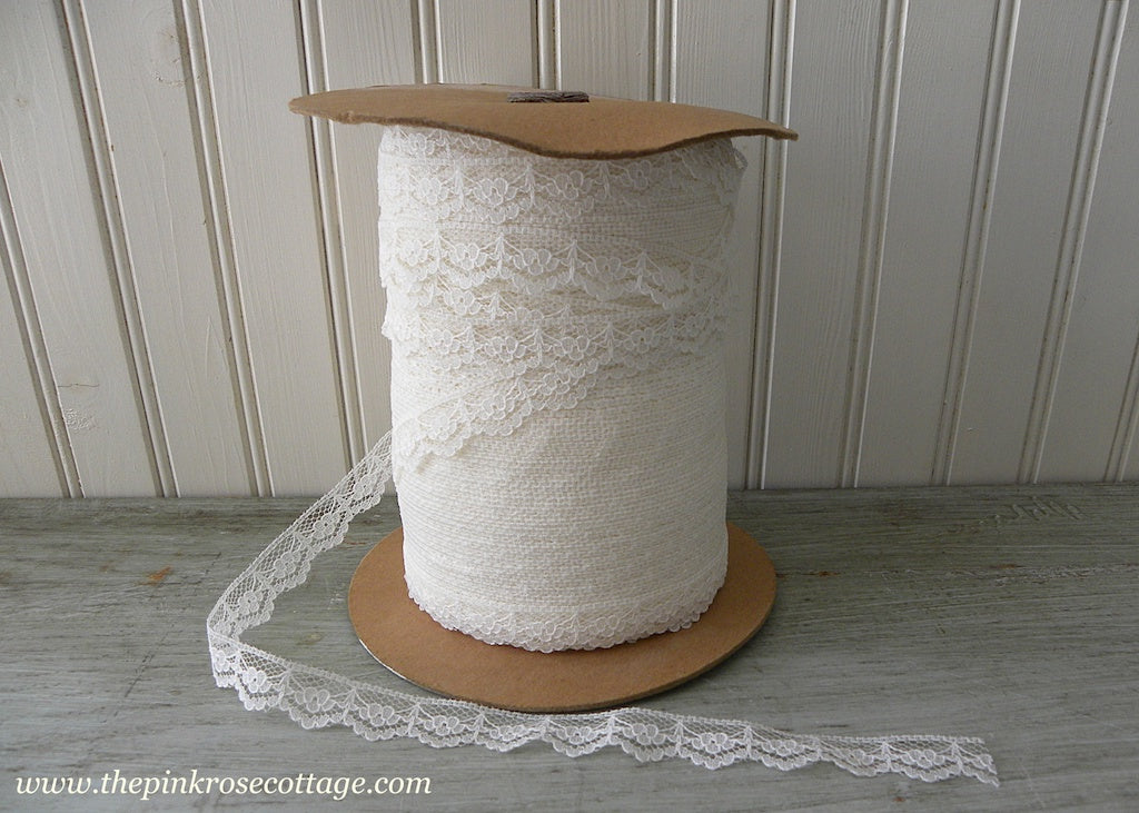 Spool of Vintage Cream Lace Trim Yardage - The Pink Rose Cottage