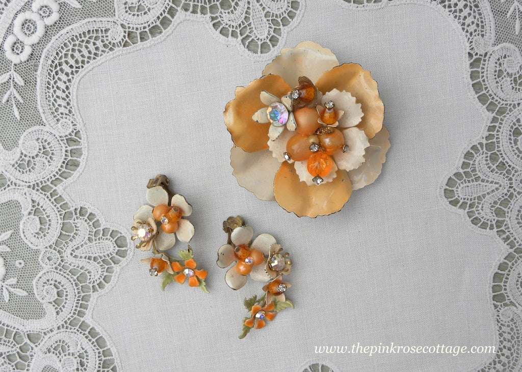 Vintage Enameled Pin and Earring Set Peach with Beads and Rhinestones