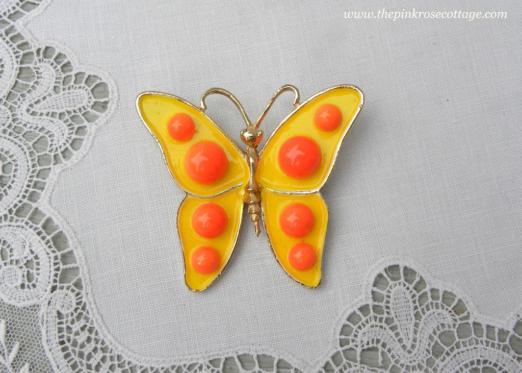 Vintage Weiss Mod Yellow and Orange Enameled Butterfly Pin Brooch