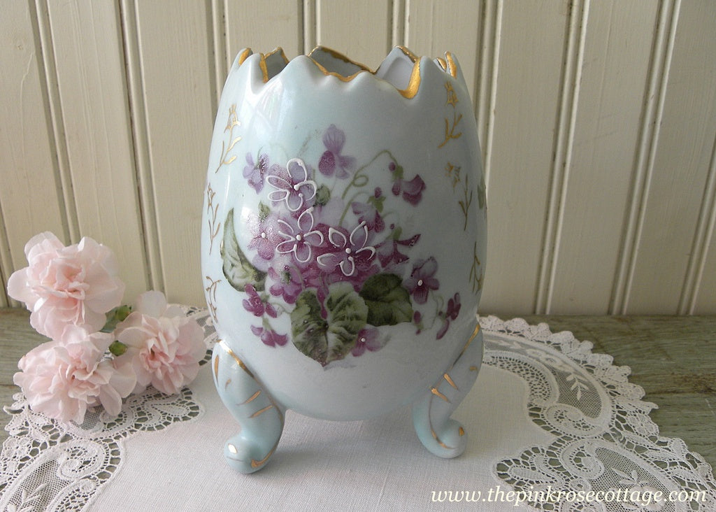 Vintage Cottage Violets on Blue Large Egg Shaped Vase