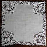 Antique Linen Schiffli Lace Bridal Wedding Handkerchief - The Pink Rose Cottage