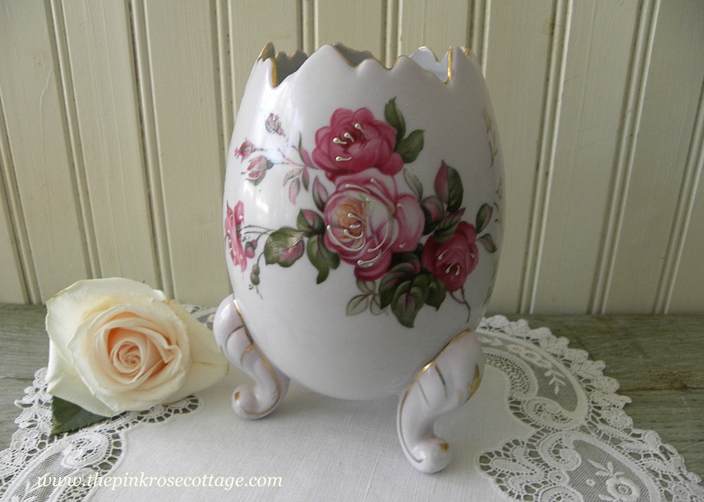 Vintage Pink Roses Large Egg Shaped Vase