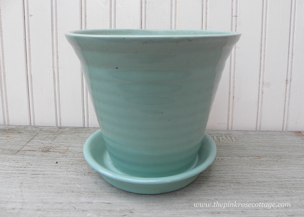 Vintage Teal Flower Pot Planter with Under Plate