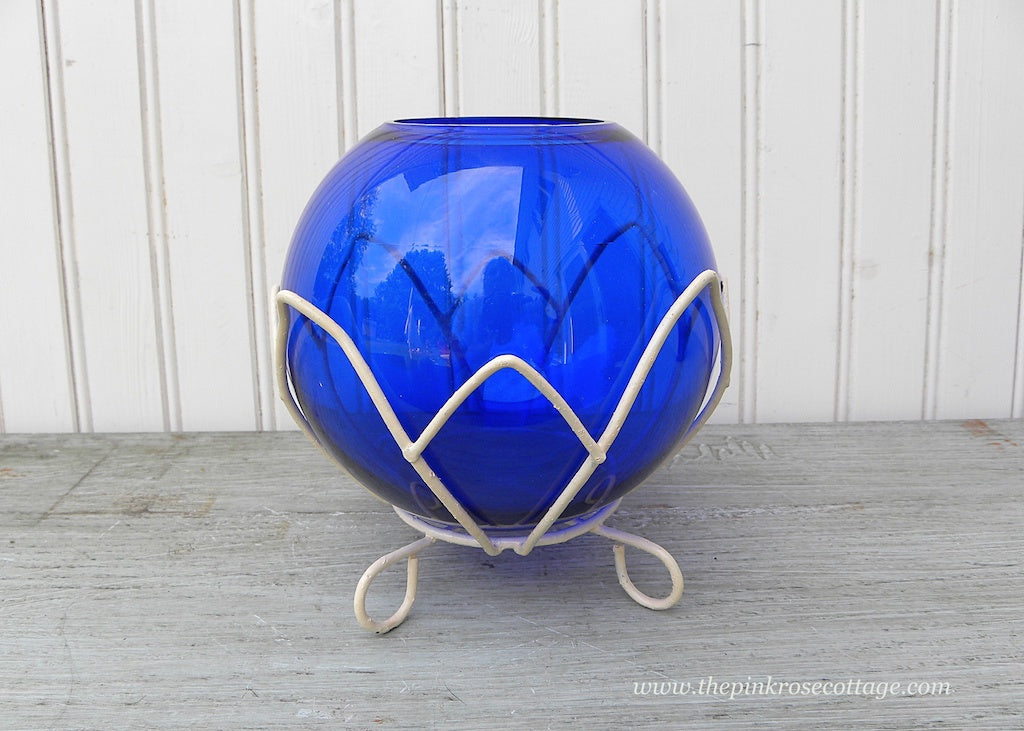 Vintage Cobalt Blue Round Glass Vase with Wire Lotus Base