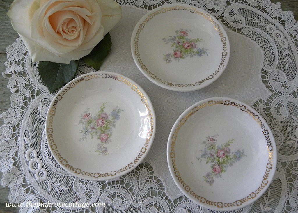 Vintage Pink Roses and Forget-Me-Nots Butter Pat Dishes