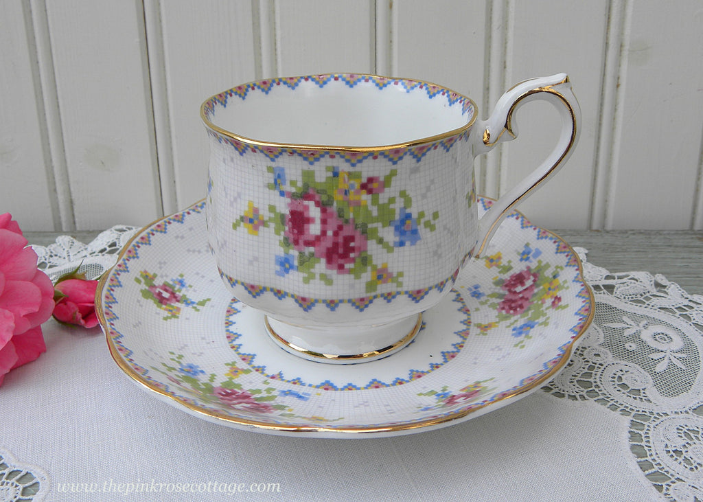 Vintage Royal Albert Petit Point China Pink Roses Teacup Saucer