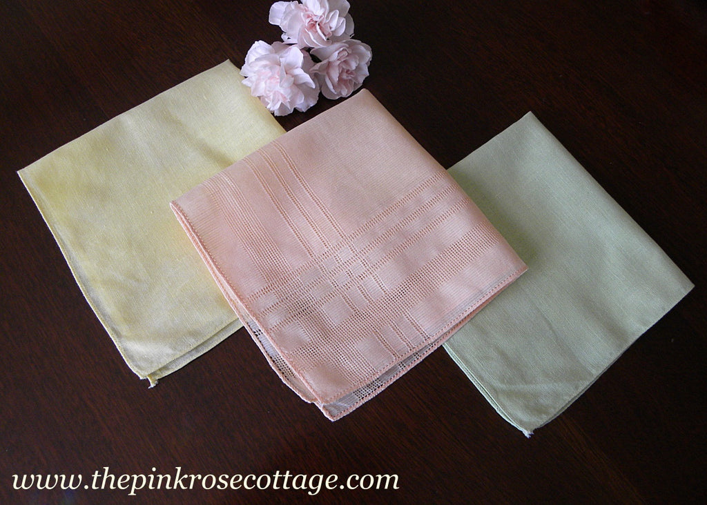 3 Vintage Sherbert Colors Pastel Handkerchiefs - The Pink Rose Cottage