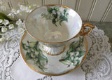 Vintage Flower of the Month May Lily of the Valley Pedestal Teacup