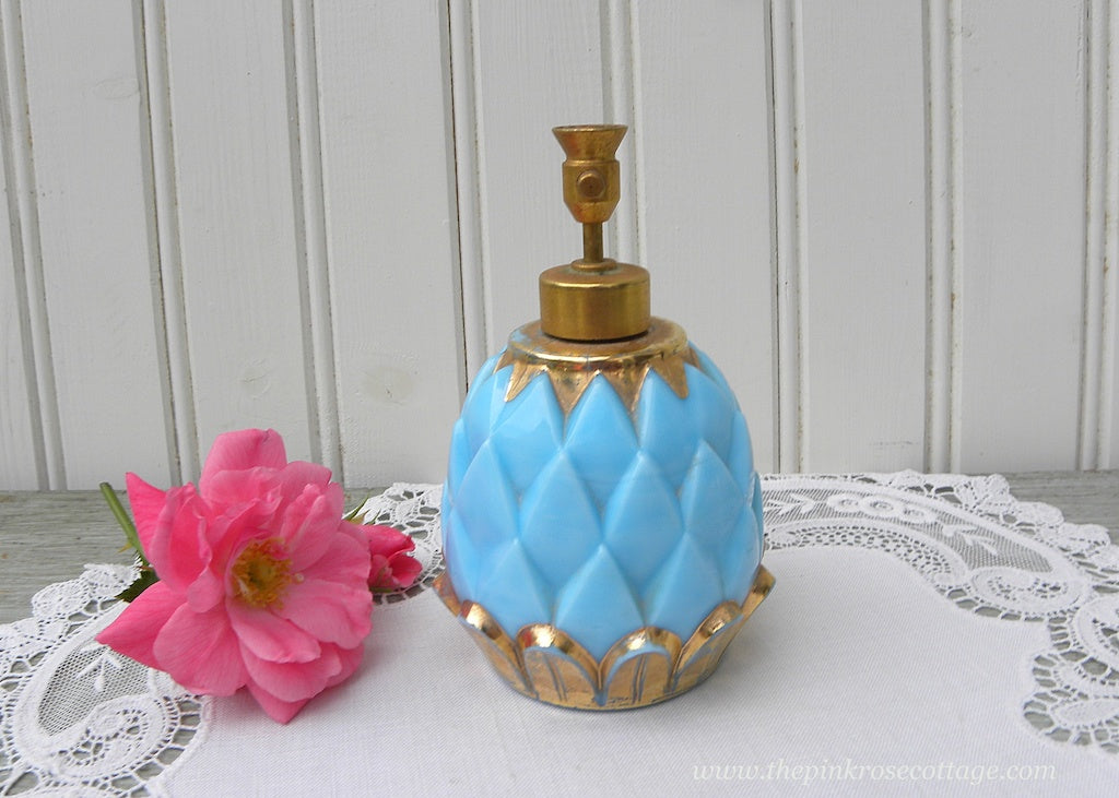 Vintage DeVilbiss Blue Milk Glass Pineapple Perfume Bottle France