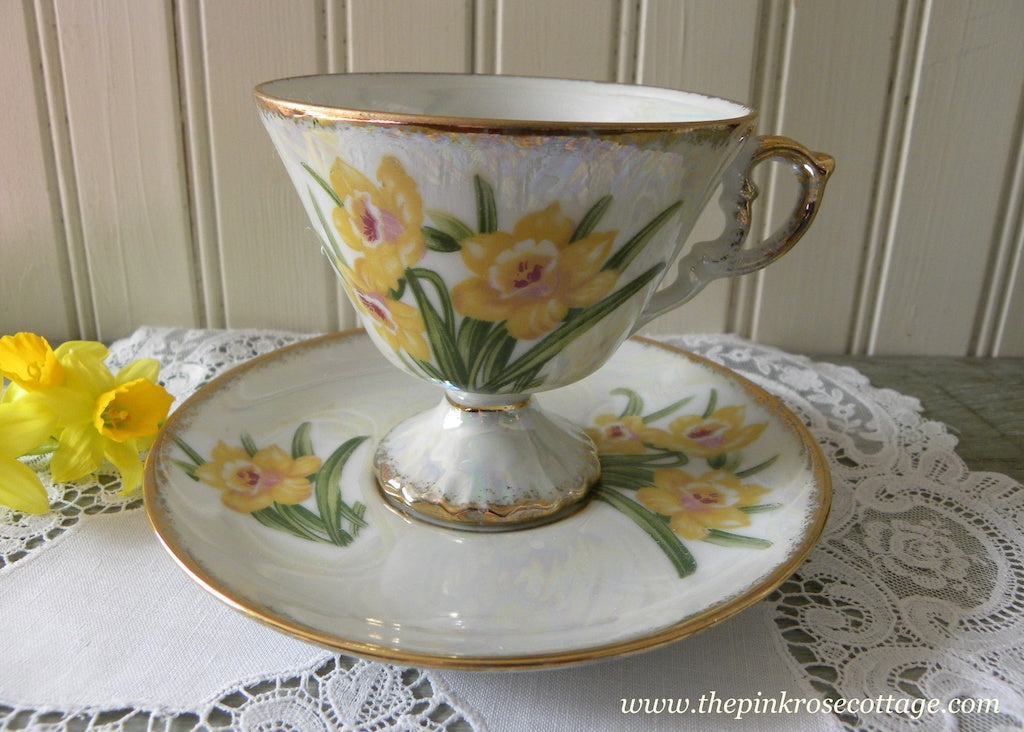 Vintage Enesco Flower of the Month March Daffodil Pedestal Teacup