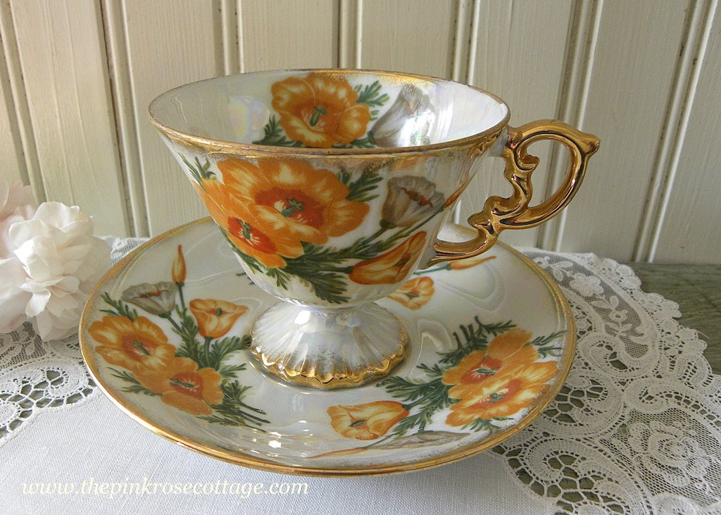 Vintage Flower of the Month August Poppy Pedestal Teacup