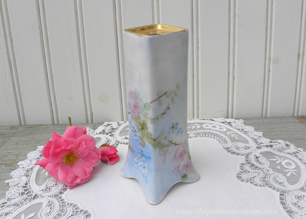 Vintage Hand Painted Pink Roses and Forget-Me-Nots Hatpin Holder France