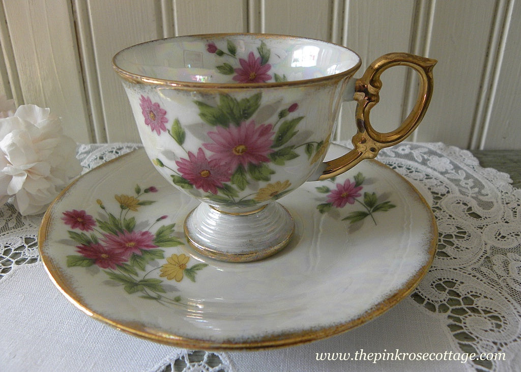 Vintage Flower of the Month September Aster Pedestal Demitasse Teacup