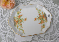 Vintage Peachy-Coral Floral Handled Tidbit Pin Tray