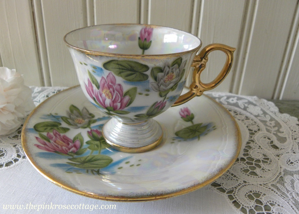 Vintage Flower of the Month July Waterlily Pedestal Demitasse Teacup