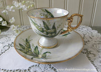 Vintage Flower of the Month May Lily of the Valley Pedestal Demitasse Teacup