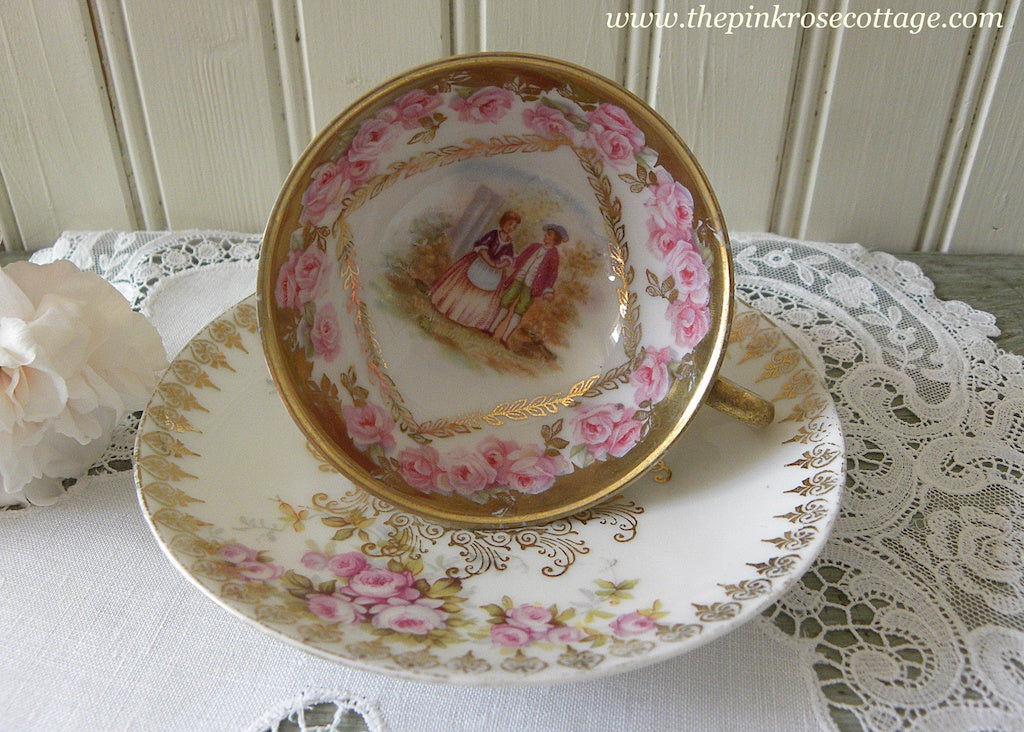 Vintage Pink Roses and Courting Couple Demitasse Teacup and Saucer