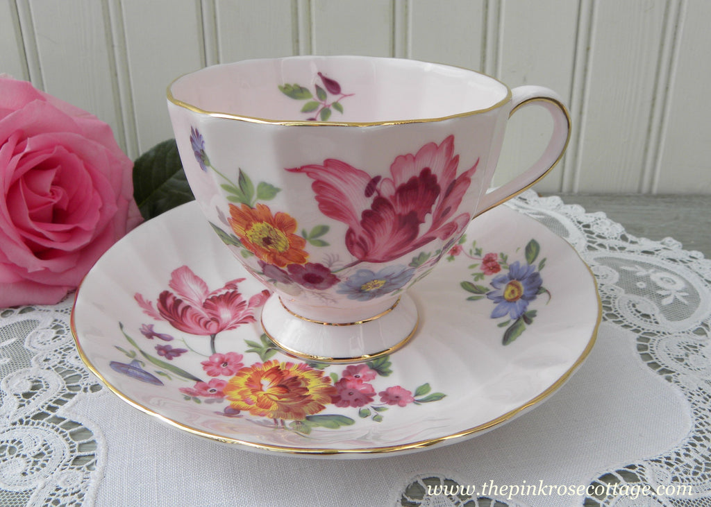 Vintage Tuscan Pink Teacup and Saucer with Pink Tulips