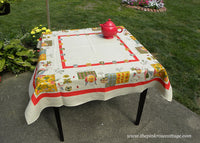 Vintage Tablecloth Mid Century Woman in the Garden Fun Veggie Gardener
