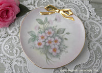Vintage Hand Painted Pink Apple Blossom and Bow Bonbon Plate