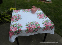 Vintage Tablecloth with Large Bouquets of Pink Cabbage Roses