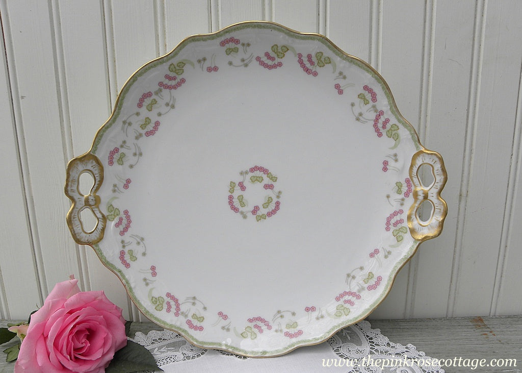 Antique Limoges Pink Posies Gold Bow Handles Dessert Serving Plate - The Pink Rose Cottage