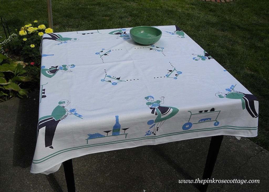 Vintage Broderie Tablecloth Maid Butler Cocktail Dinner Party