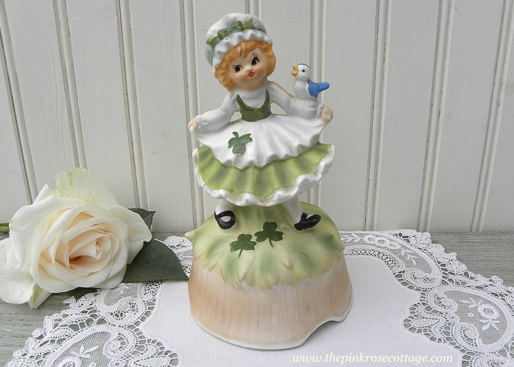 Vintage Lefton St. Patrick's Day Irish Girl Music Box