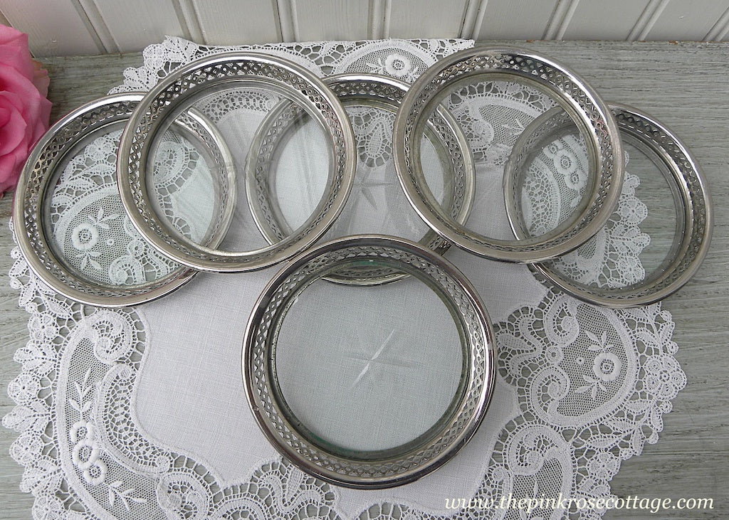 Set of 6 Manning Bowman Vintage Silver and Glass Coasters with Star - The Pink Rose Cottage