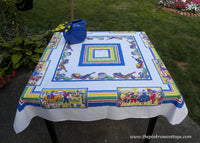 Vintage Colorful Mexican Tablecloth Pottery Dancers Cactus and More