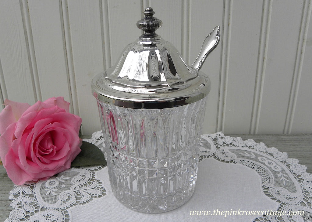 Vintage International Silver Crystal Jam Jar with Shell Serving Spoon