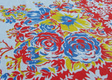 Colorful Vintage Daisy Rose Hibiscus Floral Tablecloth