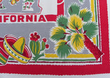 Vintage California State Map Souvenir Tablecloth Pre-Disney