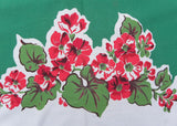 Vintage Simtex Geranium Garden Tablecloth with Green
