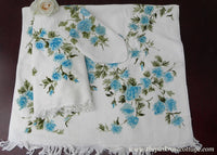 Unused Vintage Martex Luxurious Blue Rose Bath Towel Set - The Pink Rose Cottage