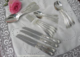 Antique 1919  New England Silver Plate Rosemary Roses Flatware Set - The Pink Rose Cottage