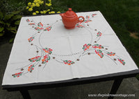 Vintage Embroidered Fall Leaves and Acorn Tablecloth Topper