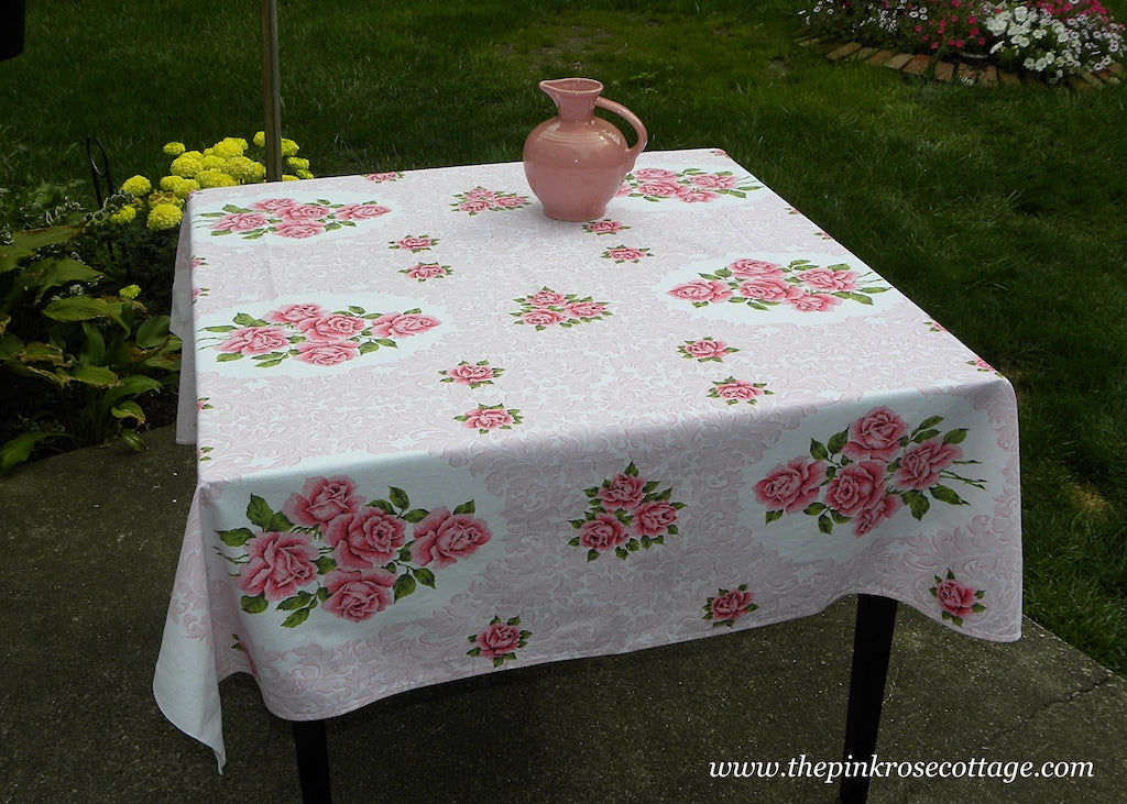 Vintage Broderie Tablecloth with Pink Roses and Scrolls
