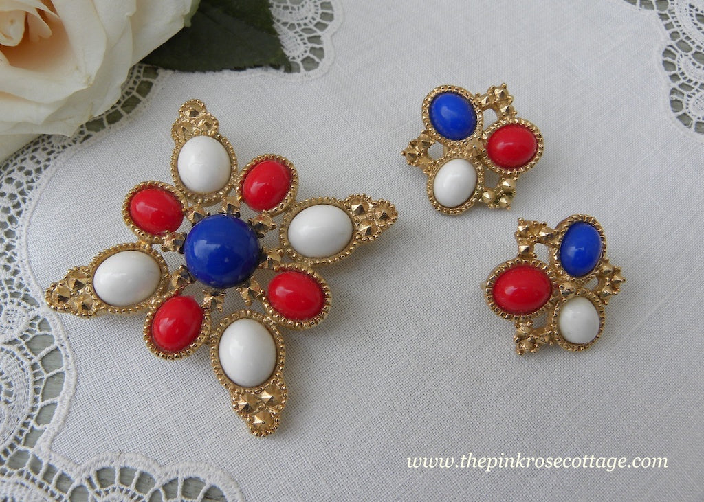 Vintage Sarah Coventry Patriotic Red White and Blue Pin and Earrings Set