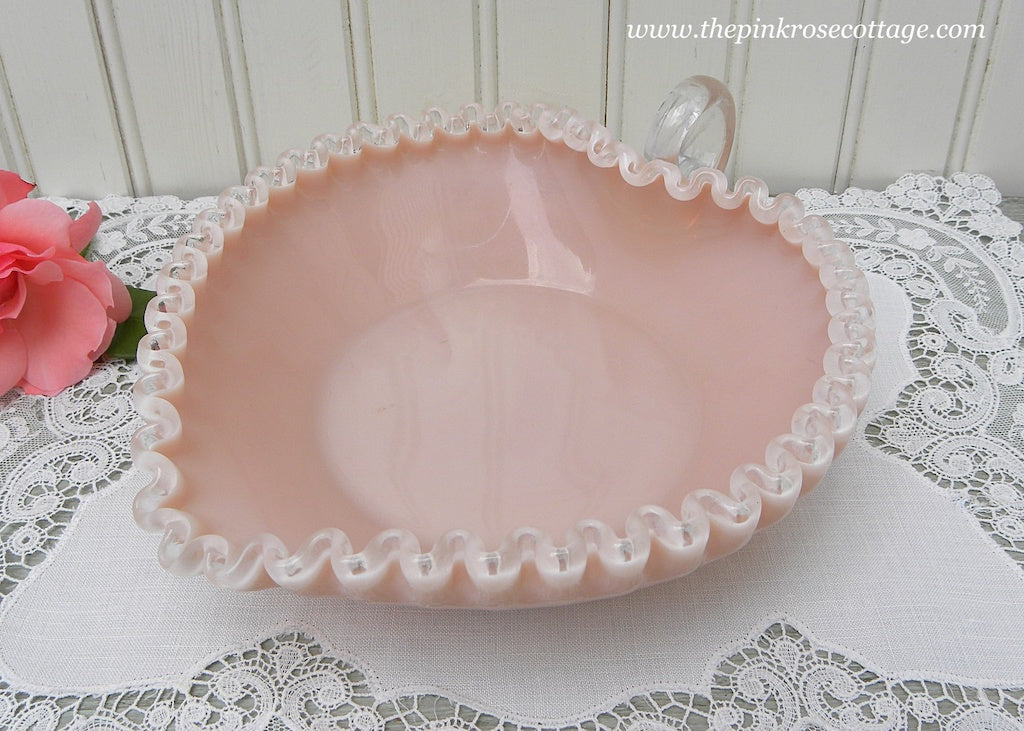 Vintage Fenton Silver Crest Pink Heart Handled Candy Dish