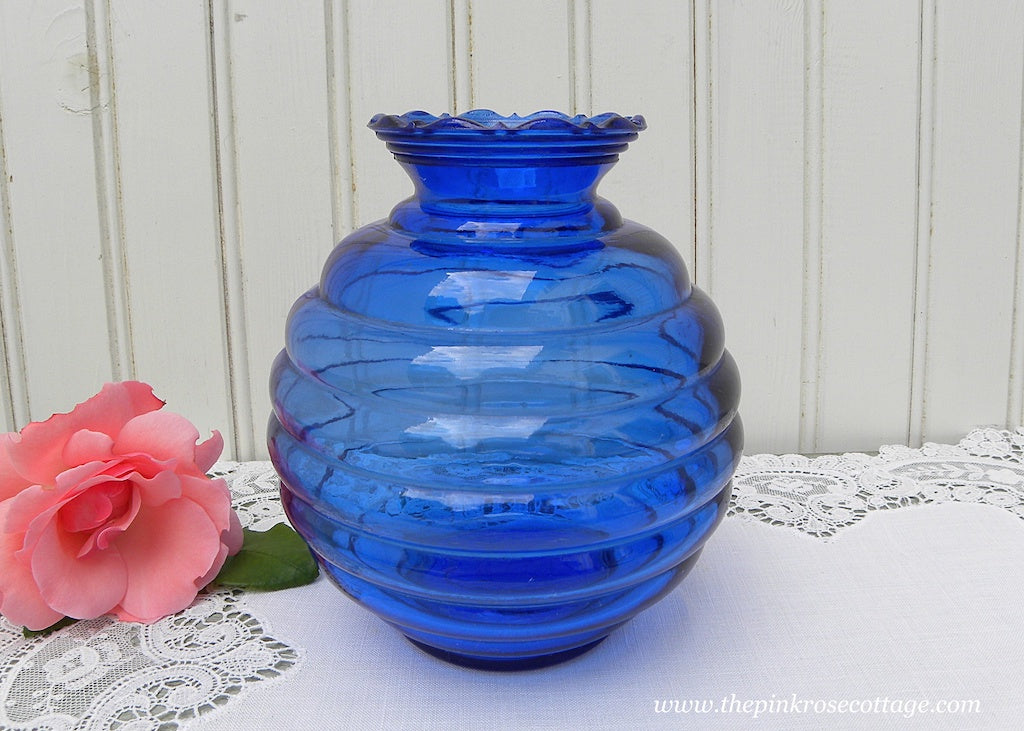 Vintage Cobalt Blue Round Beehive Glass Vase with Ruffled Edge