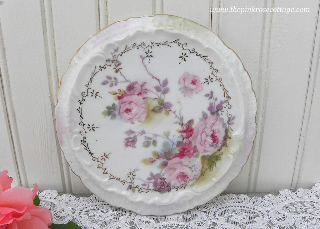 Vintage Hand Painted Pink Chantilly Rose Trivet