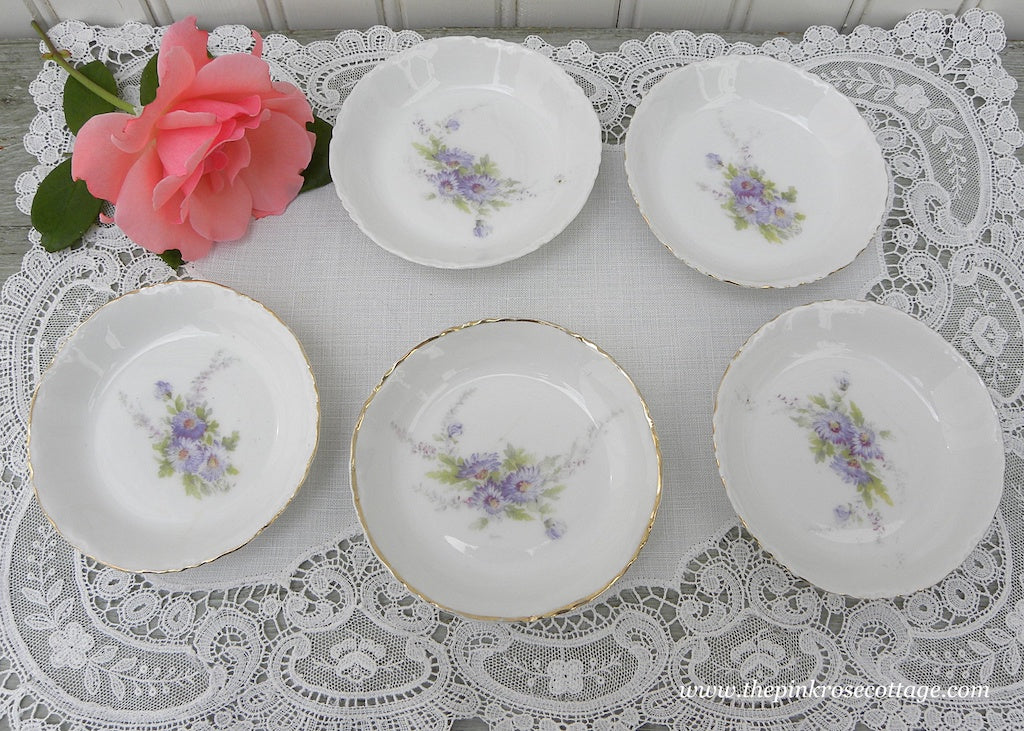 Set of Vintage Butter Pat Dishes Purple Asters Daisies