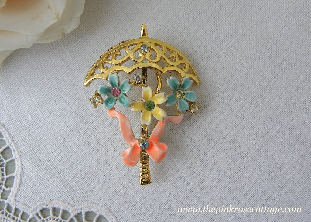 Vintage B.J. Parasol with Enameled Flowers and Rhinestones Brooch Pin