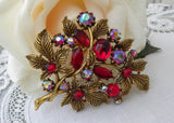 Vintage Ruby Red Aurora Borealis  Rhinestone Floral Spray Pin Brooch