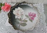 Antique White and Pink Long Stemmed Roses Plate