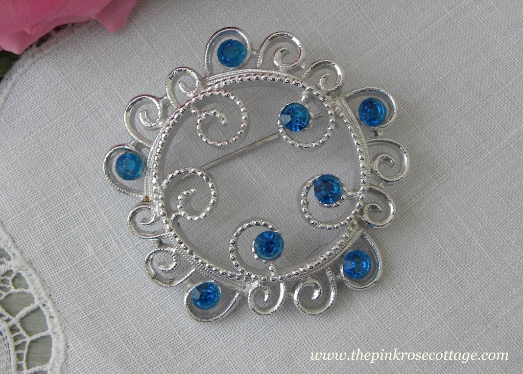 Vintage Sarah Coventry Sapphire Blue Rhinestone Silver Pin Brooch