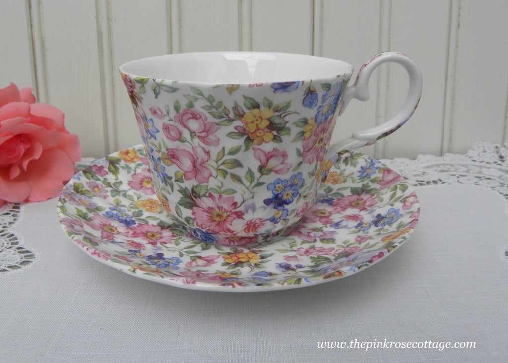 Laura Staffordshire England Pink Rose Chintz Teacup and Saucer